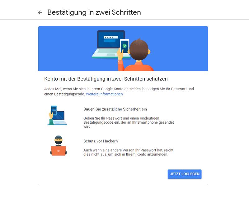 Screenshot: Google Ads Anmeldung Bestätigung in zwei Schritten