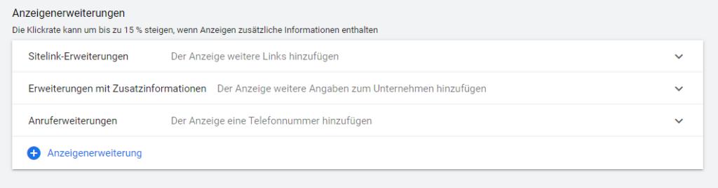 Screenshot: Google Ads Einstellungen Anzeigenerweiterungen