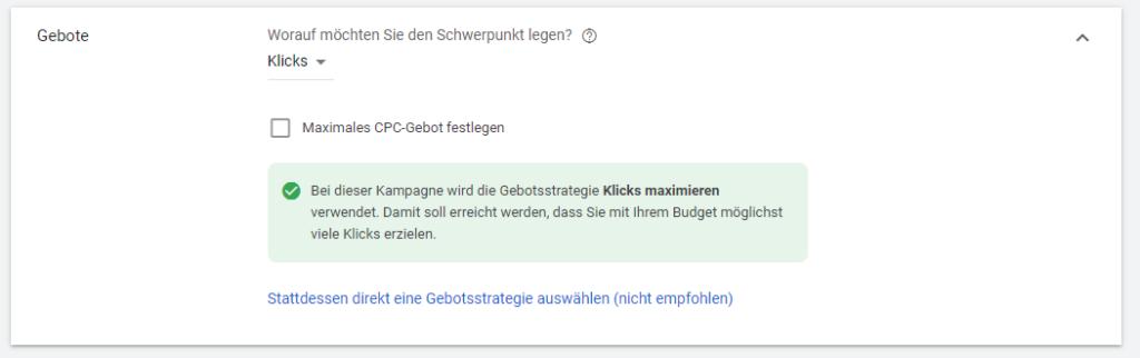 Screenshot: Google Ads Einstellungen Gebotsstrategie auswählen