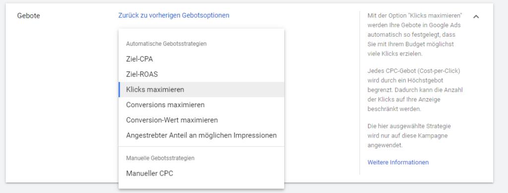 Screenshot: Google Ads Einstellungen: manuelle und automatische Gebotsstrategie