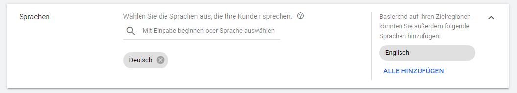 Screenshot: Google Ads Einstellungen Sprachen