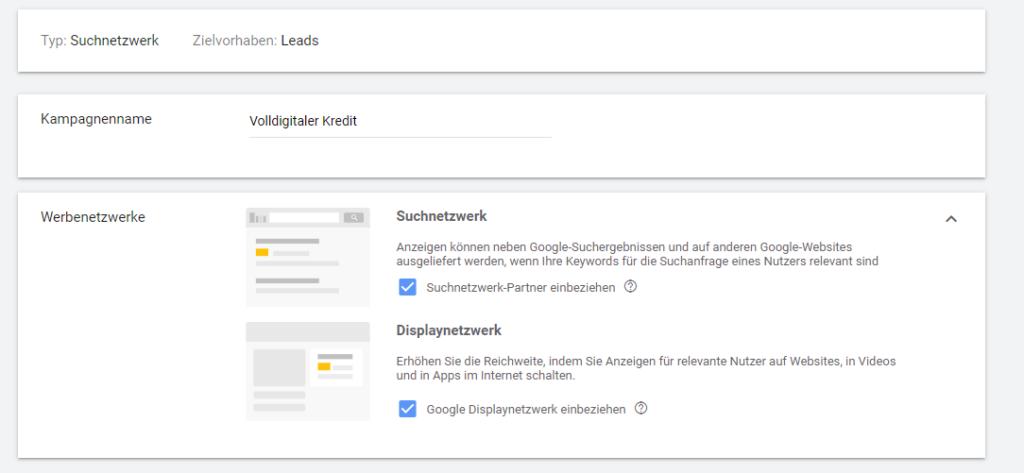 Screenshot: Google Ads Kampagneneinstellungen Werbenetzwerke