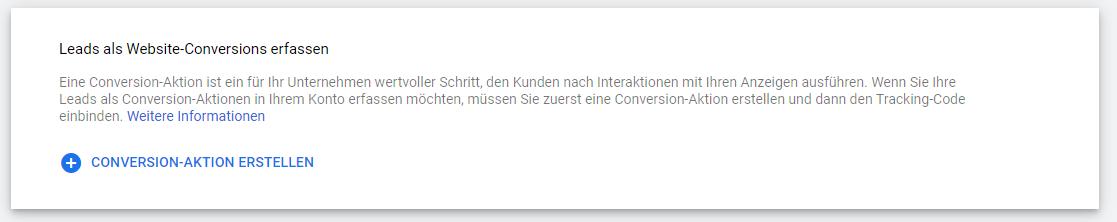 Screenshot: Leads als Website Conversions erfassen