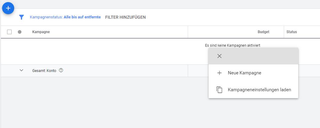 Screenshot: Neue Kampagne oder Kampagneneinstellungen laden