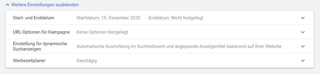 Screenshot: Weitere Einstellungen Startdatum, Enddatum, Werbezeitplaner und Co.