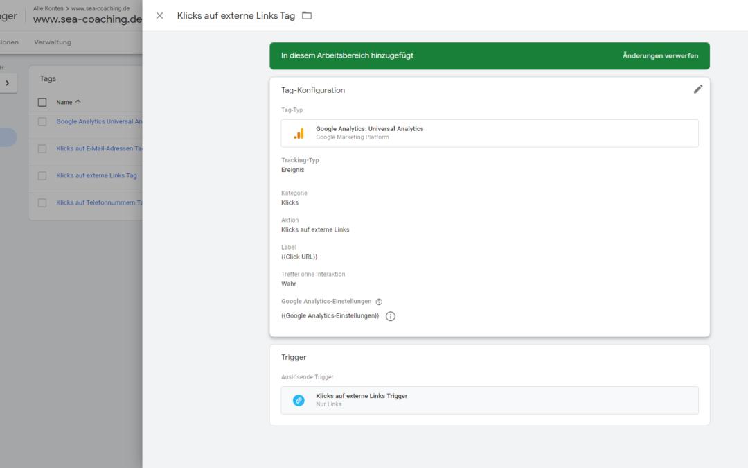 Google Tag Manager Click Tracking: alle Klicks auf externe Links tracken