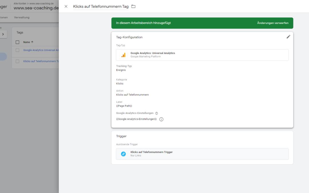 Google Tag Manager Event Tracking: Klicks auf Telefonnummern und E-Mail-Adressen tracken