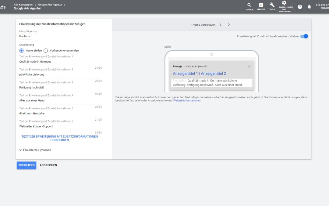 Erweiterungen mit Zusatzinformationen: Google Ads Anzeige mit Callouts erweitern