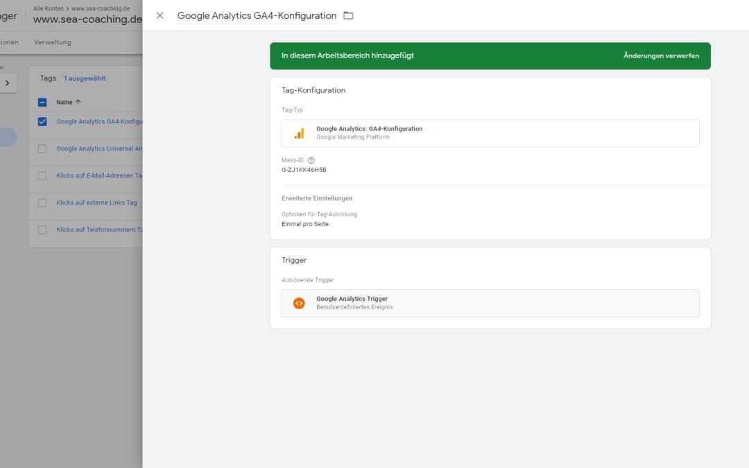 Google Analytics 4 (GA4) mit Google Tag Manager einbinden