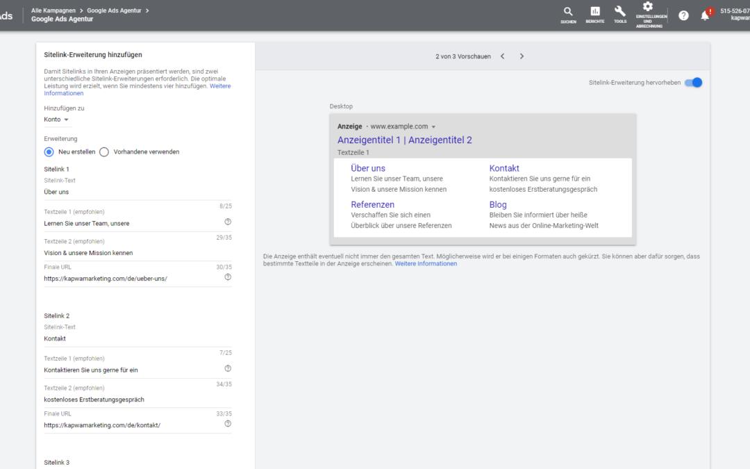 Sitelink-Erweiterungen: Google Ads Anzeige mit Sitelinks erweitern