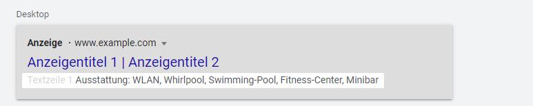 Screenshot: Darstellung Google Ads Snippet-Erweiterung: Vorschau auf Desktop