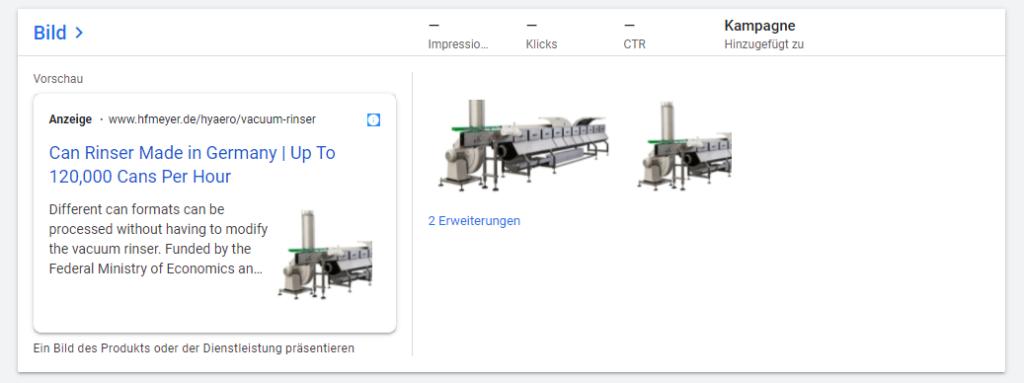Beispiel für Google Ads Bilderweiterung (Vorschau)