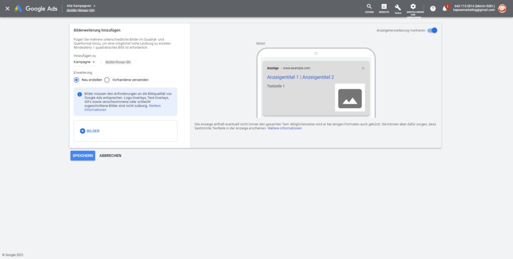 Screenshot: Google Ads Bilderweiterung hinzufügen: Interface
