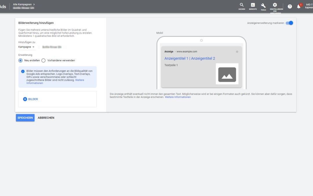 Bilderweiterungen: Google Ads Textanzeigen mit Bildern erweitern