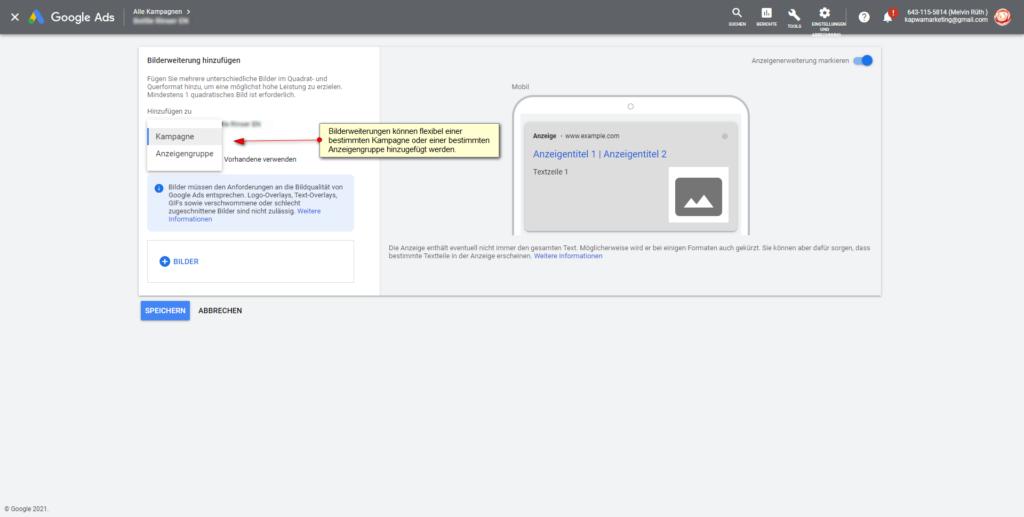 Screenshot: Flexibilität beim Hinzufügen von Google Ads Bilderweiterungen