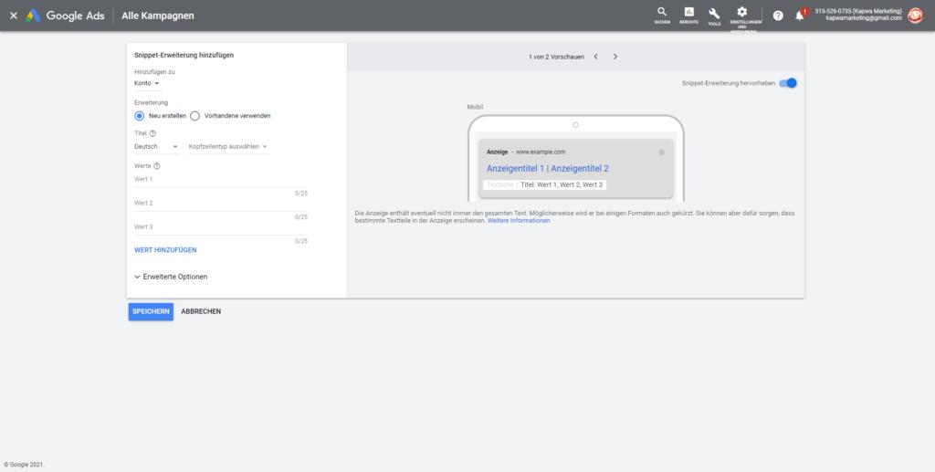 Screenshot: Google Ads Snippet-Erweiterung hinzufügen
