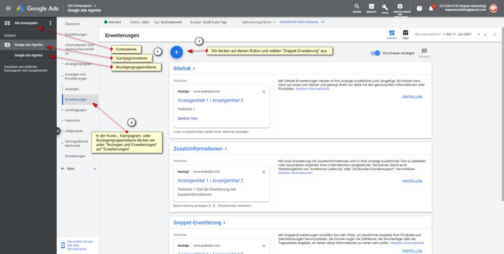 Screenshot: Google Ads Snippet-Erweiterung hinzufügen: auf Kontoebene, Kampagnenebene oder Anzeigengruppenebene